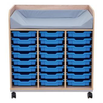Wickelkommode, mit 24 Schubladenboxen