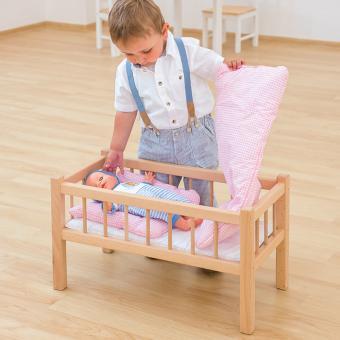 Puppenbett mit Bettzeug und Matratze Buche weiß
