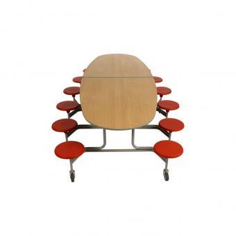 12er-Klapptisch mit Stühlen, 69 x 107 x 306
