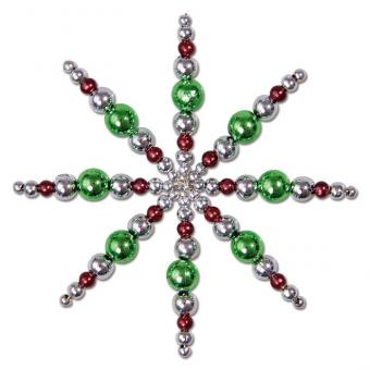 Komplett-Set - Draht-Weihnachtssterne in Silber/Grün/Braun
