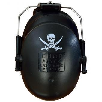 Geräuschdämmer für Schüler Schwarz mit Piratenaufdruck