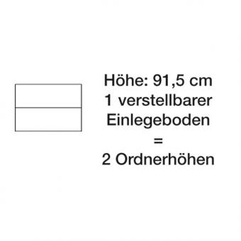 Asisto - Rolladenschrank, 91,5 cm hoch - 2 Ordnerhöhen