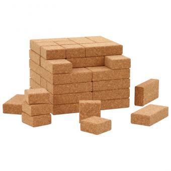 Bausteine aus Kork 60 Natur-Bausteine mit quadrati- KI-30150 schem Filzkorb