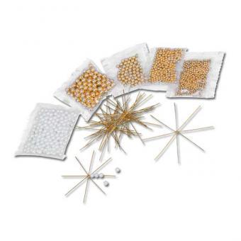 Komplett-Set - Draht-Weihnachtssterne in Gold/Weiß