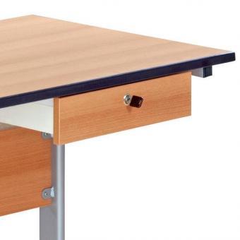 Lehrertisch mit Stahlrohrprofil L-Fuß