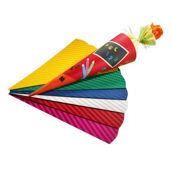 5 Schultüten-Zuschnitte, aus 3D-Wellpappe