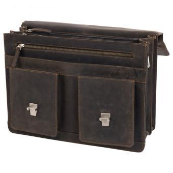 Lehrertasche aus Büffel-Leder - dunkelbraun