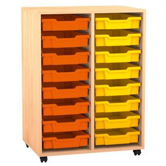 Regal PRO, 99,1 x 73,1 x 48 cm, mit Sichtrückwand und 16 Boxen