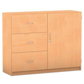 Unterschrank-Kombination mit Sockel, 3 hohe Holzschubladen, 2 Böden, Breite: 126,4 cm