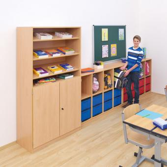 Klassenzimmerregal, 98 x 40,8 x 130,7, mit 4 Fächern und 8 Boxen