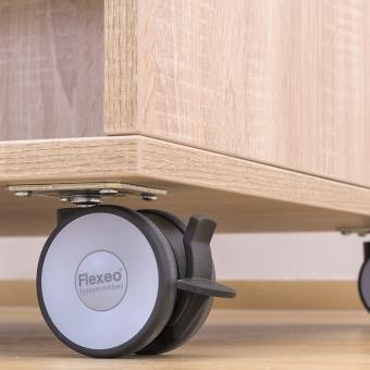 Flexeo® Bücherwagen schmal, 3 gerade Fachböden je Regalseite