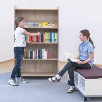 Flexeo® Bücherwagen schmal, 1 gerader Fachboden und 2 Schrägablagen je Regalseite