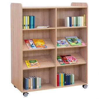 Flexeo® Bücherwagen breit, mit Mittelwand, 2 gerade Fachböden und 4 Schrägablagen je Regalseite