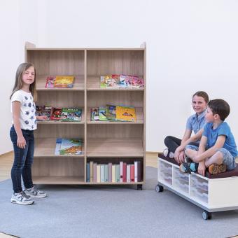 Flexeo® Bücherwagen breit, mit Mittelwand, 6 gerade Fachböden je Regalseite