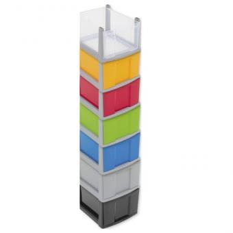Flexeo Rahmensystem – Hohe Box, einzeln, mit grauem Rahmen