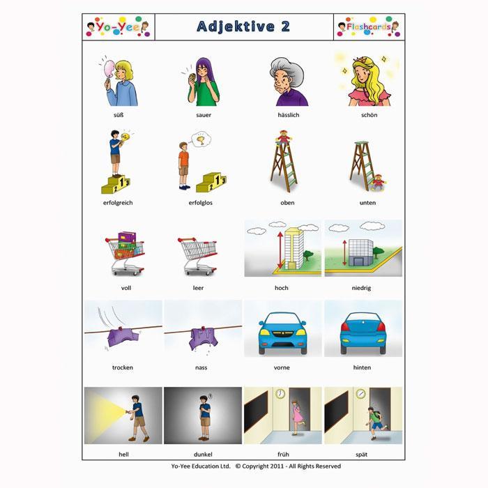 bildkarten adjektive 2 sprache und sprechen lernen mit. Black Bedroom Furniture Sets. Home Design Ideas