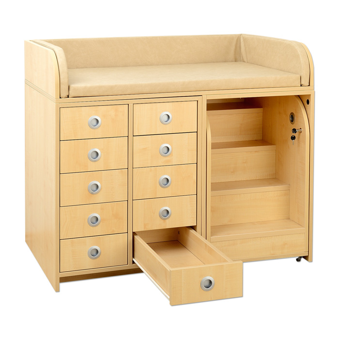 gro er wickelschrank mit treppe und 10 schubladen g nstig online kaufen. Black Bedroom Furniture Sets. Home Design Ideas