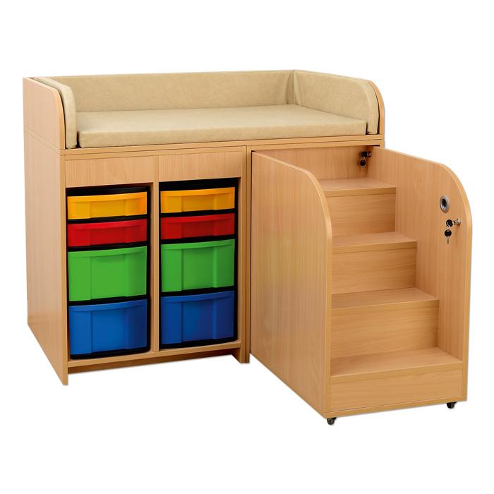 gro er wickeltisch mit treppe und kunststoff boxen g nstig online kaufen. Black Bedroom Furniture Sets. Home Design Ideas