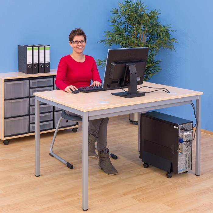 edv tisch mit offenem kabelkanal g nstig online kaufen. Black Bedroom Furniture Sets. Home Design Ideas