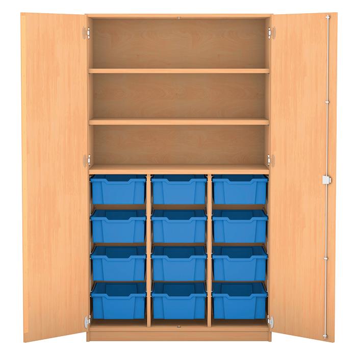 hochschrank 12 hohe boxen ohne mittelwand mit 12 hohen boxen 3 fachb den davon 2. Black Bedroom Furniture Sets. Home Design Ideas