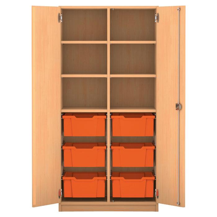 mittelhoher schrank 143 9 x 73 1 x 50 cm mit 6 boxen und 6 b den g nstig online kaufen. Black Bedroom Furniture Sets. Home Design Ideas