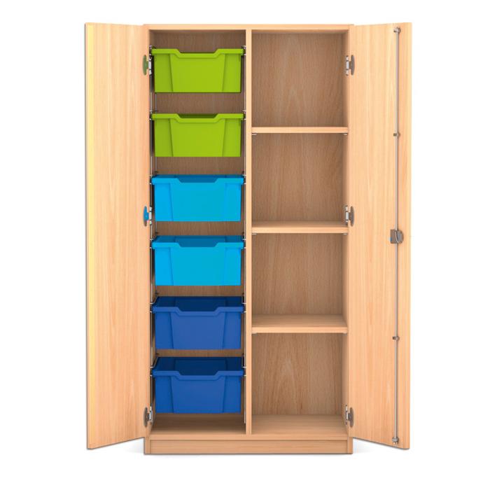 mittelhoher schrank 143 9 x 73 1 x 50 cm mit 6 boxen links und 3 b den g nstig online kaufen. Black Bedroom Furniture Sets. Home Design Ideas