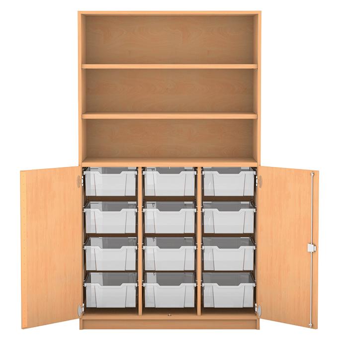halbt renschrank 2 t ren ohne mittelwand mit 12 hohen boxen 3 fachb den davon 2. Black Bedroom Furniture Sets. Home Design Ideas