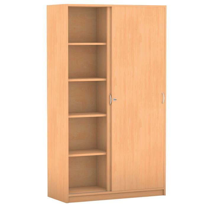 schiebet renschrank breite 126 4 cm mit mittelwand 8 verstellbaren b den brei g nstig. Black Bedroom Furniture Sets. Home Design Ideas