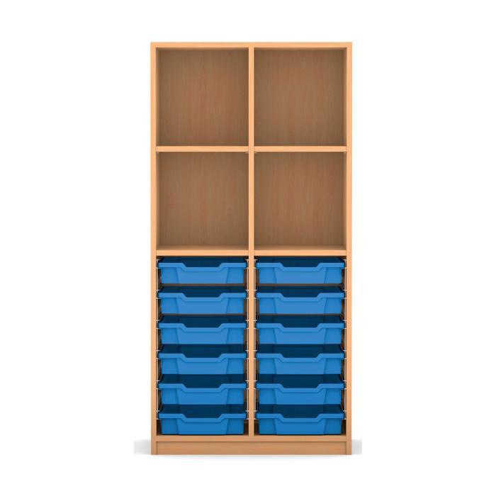 mittelhohes regal 143 9 x 73 1 x 48 mit 12 boxen und 4. Black Bedroom Furniture Sets. Home Design Ideas