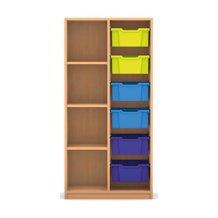 mittelhohes regal 143 9 x 73 1 x 48 mit 6 boxen und 3 b den g nstig online kaufen. Black Bedroom Furniture Sets. Home Design Ideas