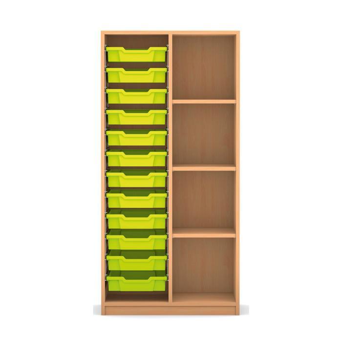 mittelhohes regal 143 9 x 73 1 x 48 mit 12 boxen links. Black Bedroom Furniture Sets. Home Design Ideas