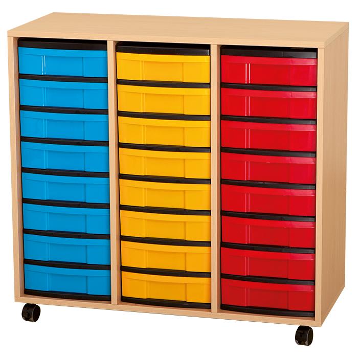 materialschrank mit flachen boxen 24 boxen 3 reihig g nstig online kaufen. Black Bedroom Furniture Sets. Home Design Ideas