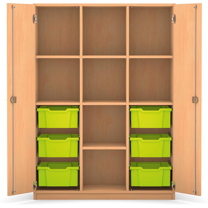 mittelhoher schrank 143 9 x 108 5 x 50 cm mit 6 boxen und 7 b den g nstig online kaufen. Black Bedroom Furniture Sets. Home Design Ideas