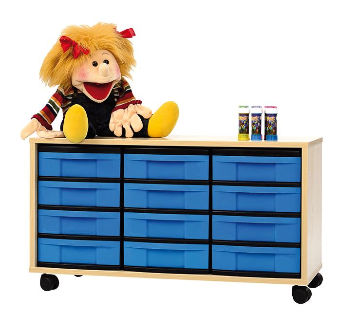 materialschrank 12 flache boxen g nstig online kaufen. Black Bedroom Furniture Sets. Home Design Ideas