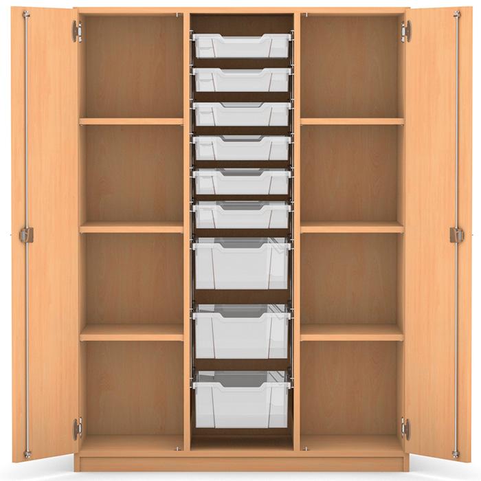 mittelhoher schrank 6 flache und 3 hohe boxen 6 verstellbare b den dreht ren g nstig online. Black Bedroom Furniture Sets. Home Design Ideas