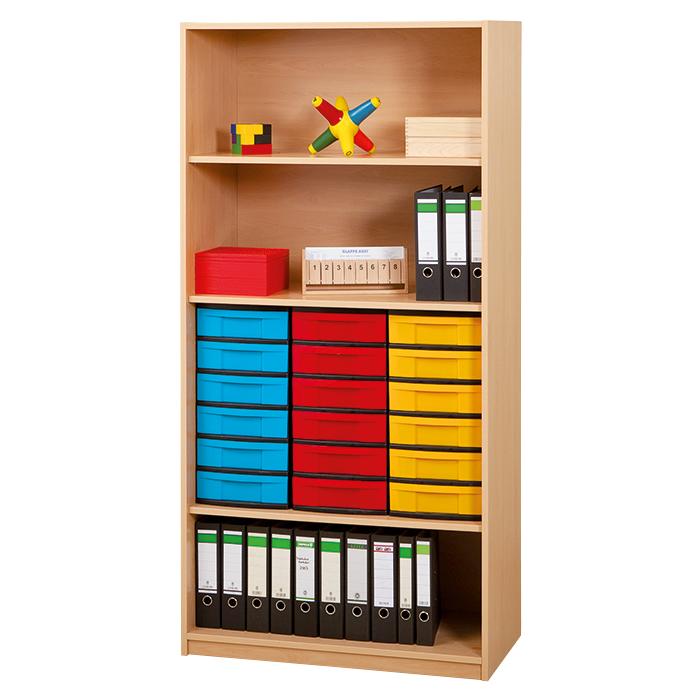 regale mit boxen mit 18 flachen boxen und 3 b den davon 1 verstellbar g nstig online kaufen. Black Bedroom Furniture Sets. Home Design Ideas