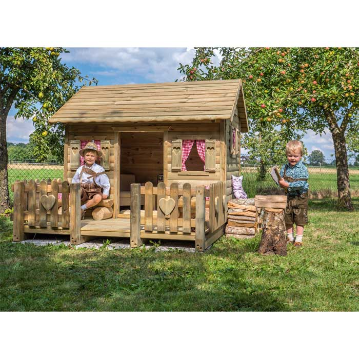 spielhaus h ttengaudi holzhaus mit alpenflair g nstig. Black Bedroom Furniture Sets. Home Design Ideas