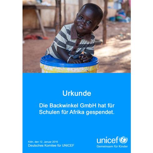 BACKWINKEL GmbH - UNICEF Spendenurkunde Schule-für-Afrika