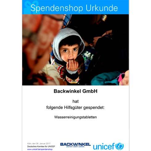 BACKWINKEL GmbH - UNICEF Spendenurkunde Wasserreinigungstabletten