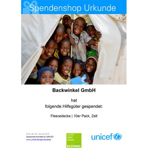BACKWINKEL GmbH - UNICEF Spendenurkunde Schultafeln